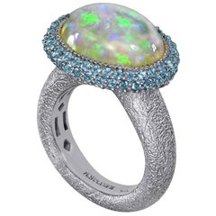 Alex Soldier Opal Blue Topaz Gold Textured Cocktail Ring One of a Kind