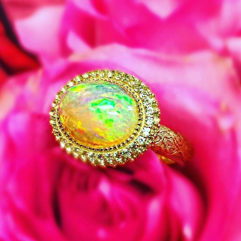 Alex Soldier Opal Peridot Yellow Gold Textured Cocktail Ring One of a Kind For Sale 5