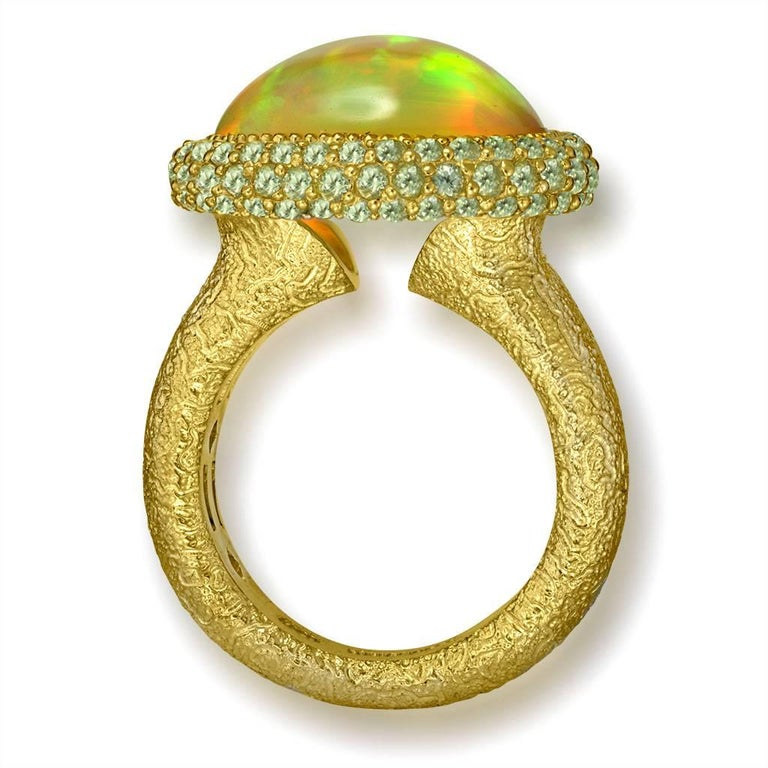 Oval Cut Alex Soldier Opal Peridot Yellow Gold Textured Cocktail Ring One of a Kind For Sale