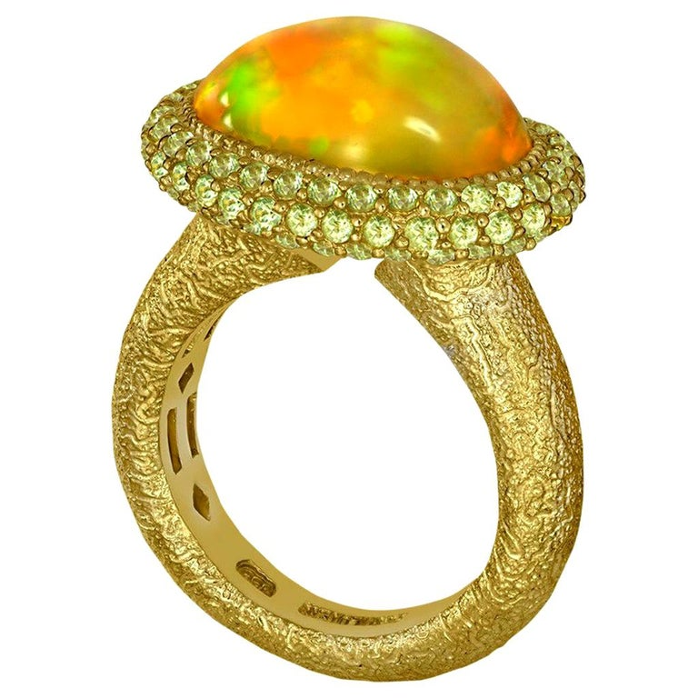 Alex Soldier Opal Peridot Yellow Gold Textured Cocktail Ring One of a Kind For Sale