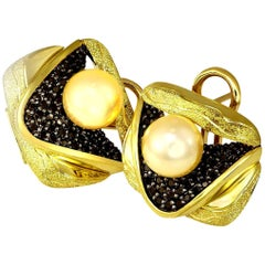 Alex Soldier Pearl Diamond 18k Gold Textured Earrings Cufflinks One of a Kind