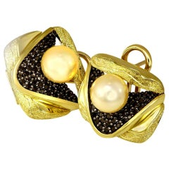 Alex Soldier Pearl Diamond Gold Textured Earrings Cufflinks One of a Kind