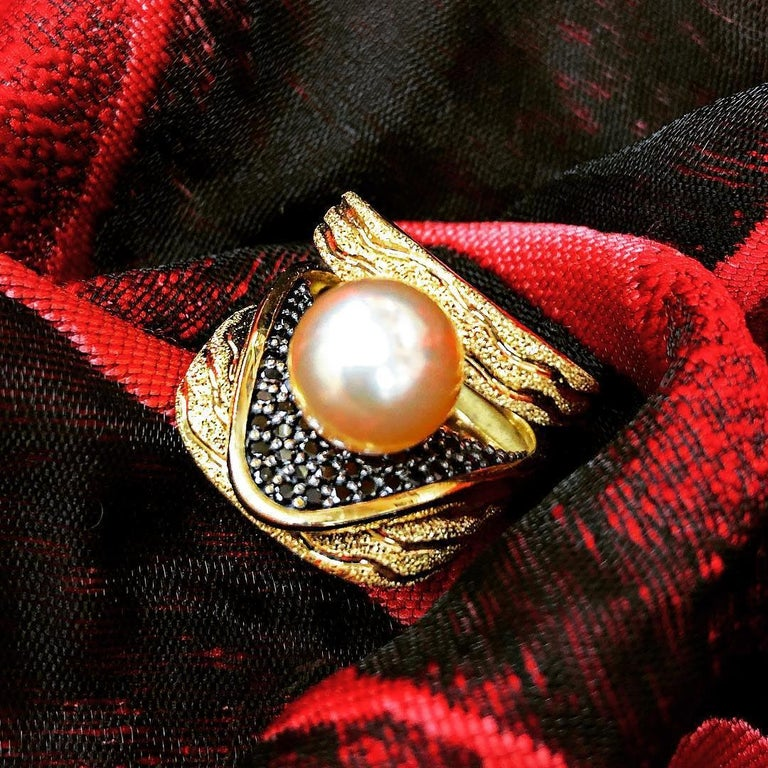 Alex Soldier Pearl Diamond Gold Textured Stud Earrings Cufflinks One of a Kind For Sale 5