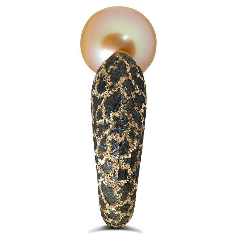 Alex Soldier Pearl Hand-Textured Rose Gold Ring One of a Kind In New Condition For Sale In New York, NY