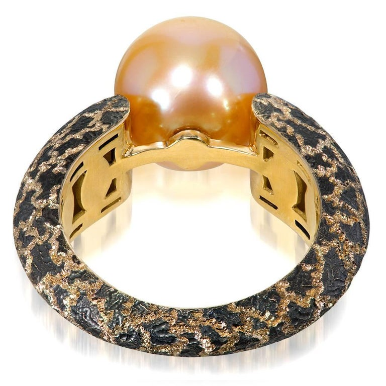 Women's or Men's Alex Soldier Pearl Hand-Textured Rose Gold Ring One of a Kind For Sale