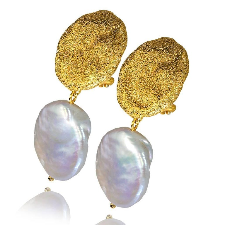 Alex Soldier Drop Dangle Moneta Pearl Earrings are made in silver, infused (deeply plated) with 24 karat yellow gold and dark platinum (rhodium), with pearls and signature metalwork that creates an effect of inner sparkle. Handmade in NYC. One of a