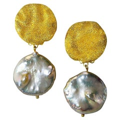 Alex Soldier Pearl Sterling Silver Gold Textured Drop Dangle Earrings