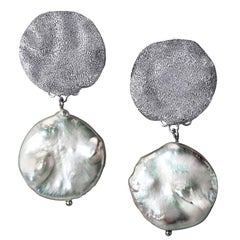 Alex Soldier Pearl Sterling Silver Platinum Textured Drop Clip-On Earrings