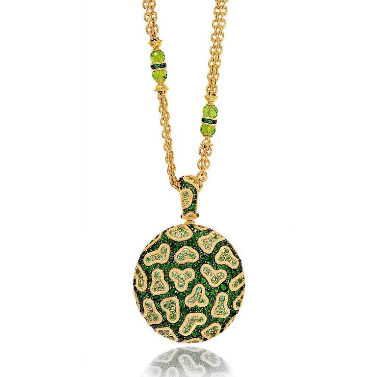 Round Cut Alex Soldier Peridot Chrome Diopside Diamond Gold Pendant Necklace One of a Kind For Sale
