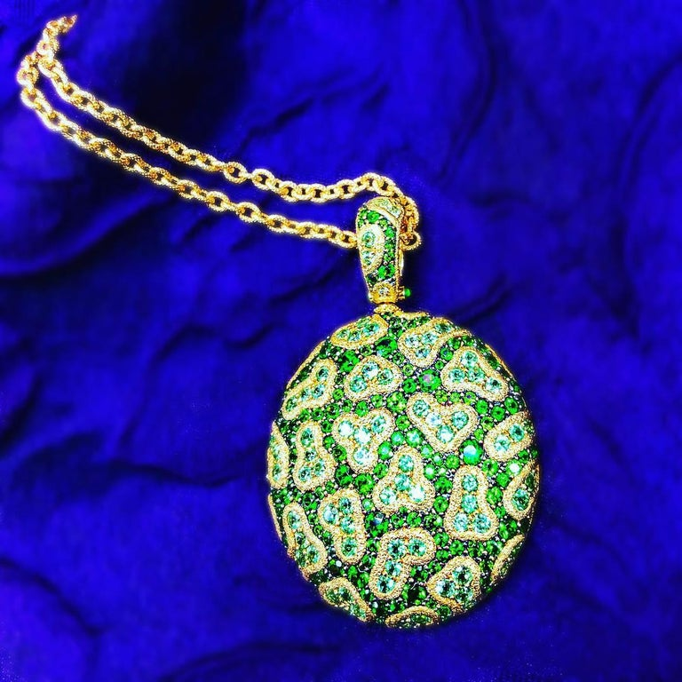 Alex Soldier Peridot Chrome Diopside Diamond Gold Pendant Necklace One of a Kind For Sale 3
