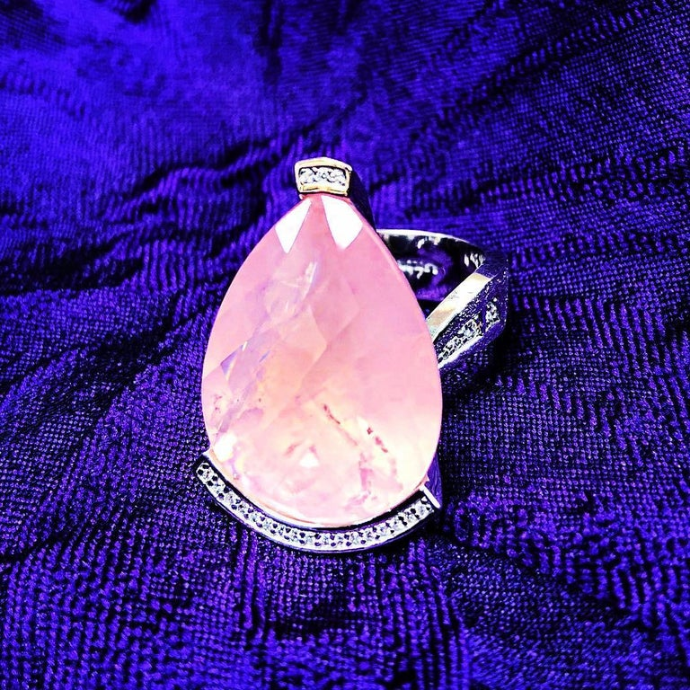 Alex Soldier Rose Quartz Diamond White Gold Swan Ring One of a Kind 2