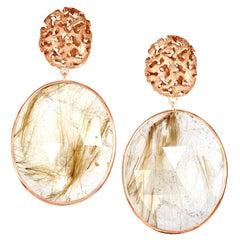Alex Soldier Rutilated Quartz 18 Karat Rose Gold Hand-Textured Drop Earrings