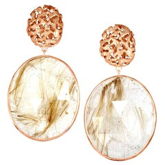 Alex Soldier Rutilated Quartz 18 Karat Rose Gold Hand-Textured Drop Earrings