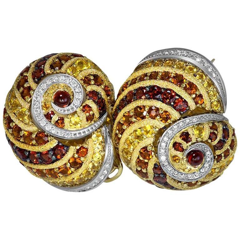 Alex Soldier Sapphire Garnet Ruby Diamond Citrine Gold Platinum Snail Earrings For Sale