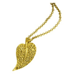 Alex Soldier Sapphire Gold Leaf Pendant Necklace on Chain One of a Kind