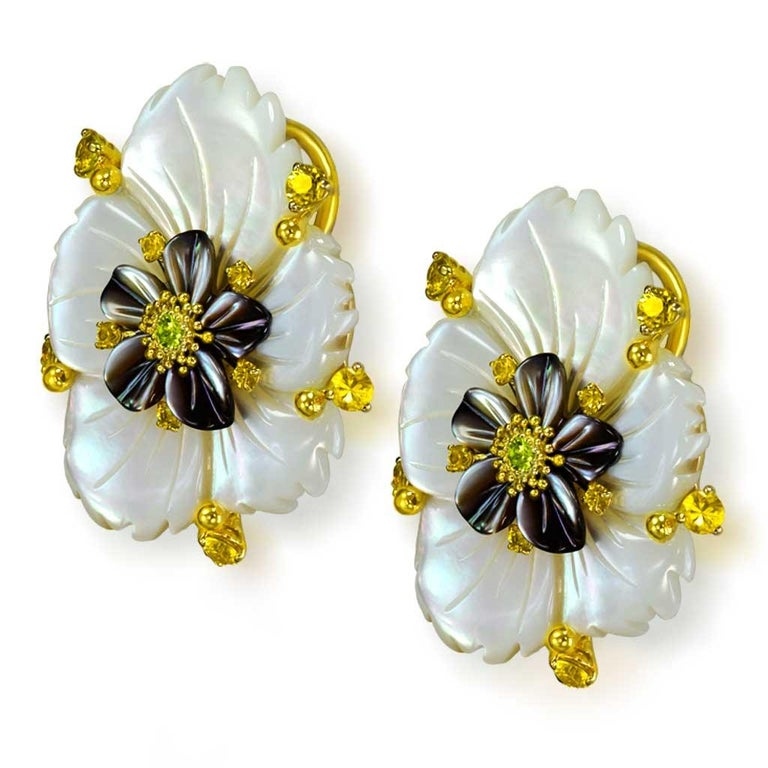 Women's or Men's Alex Soldier Sapphire Onyx Carved Mother of Pearl Gold Convertible Earrings