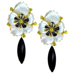Alex Soldier Sapphire Onyx Carved Mother of Pearl Gold Convertible Earrings
