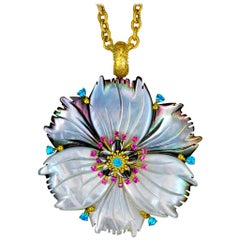 Alex Soldier Sapphire Paraiba Topaz Carved Mother of Pearl Gold Flower Pendant