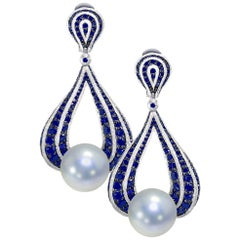 Alex Soldier Sapphire Pearl 18 Karat Gold Drop Textured Earrings One of a Kind