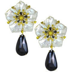 Alex Soldier Sapphire Spinel Carved Mother of Pearl Gold Convertible Earrings