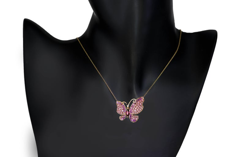 Alex Soldier's Butterfly collection is dedicated to celebration of life. Butterflies remind us to enjoy the moment and embrace change. This lovely butterfly pin is made in 18 karat rose gold with 3.1 carats of pink topaz and 1.5 carats of pink