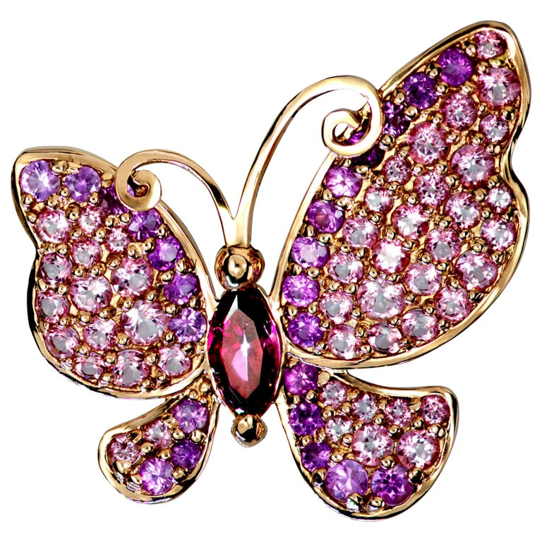 Alex Soldier Sapphire Topaz Gold Butterfly Pin Pendant Necklace Brooch For Sale