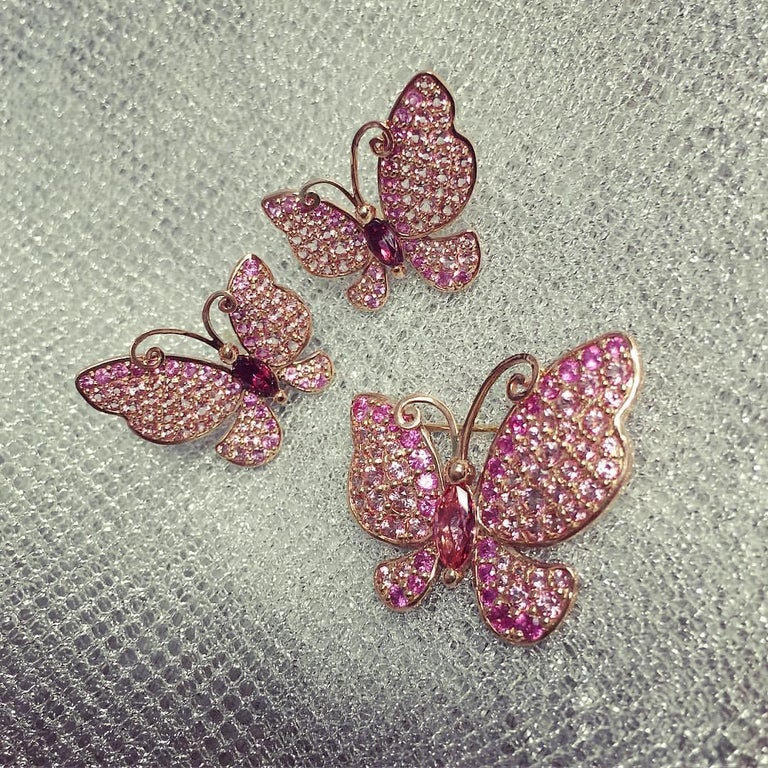 Alex Soldier Sapphire Topaz Gold Butterfly Earrings Cufflinks One of a Kind In New Condition For Sale In New York, NY