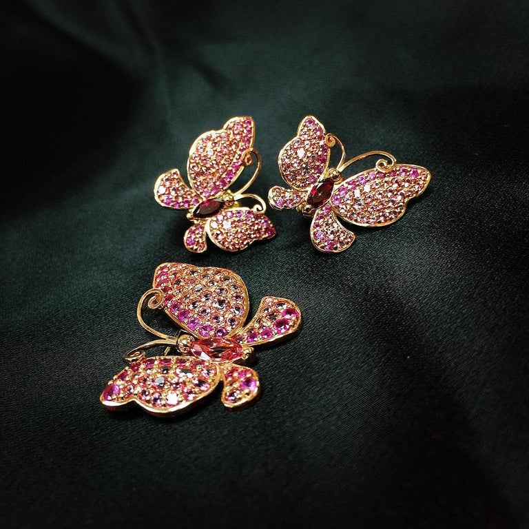 Alex Soldier Sapphire Topaz Gold Butterfly Earrings Cufflinks One of a Kind For Sale 1