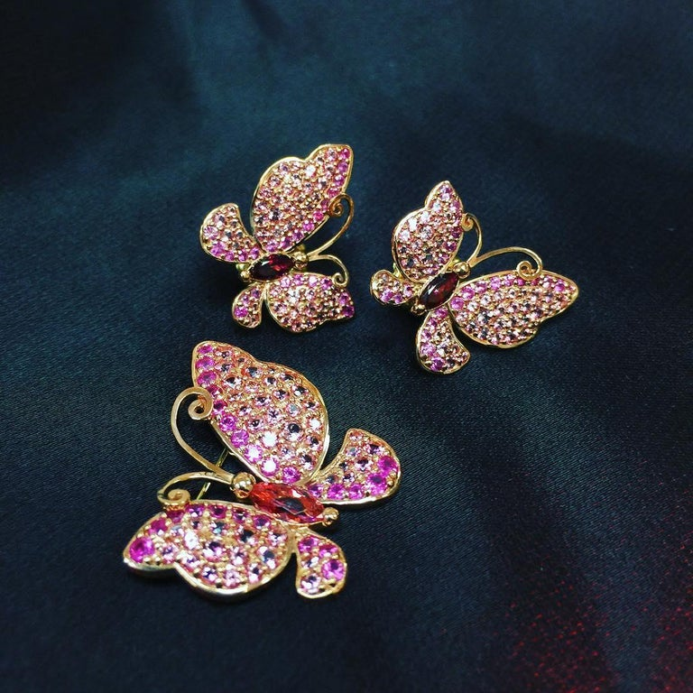 Alex Soldier Sapphire Topaz Gold Butterfly Earrings Cufflinks One of a Kind For Sale 2