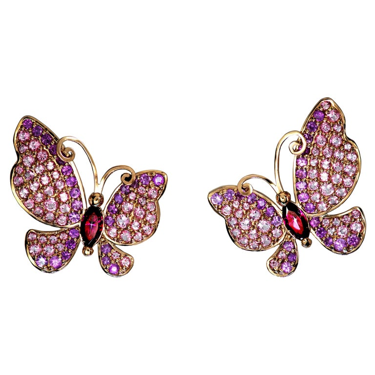 Alex Soldier Sapphire Topaz Gold Butterfly Stud Earrings One of a Kind For Sale