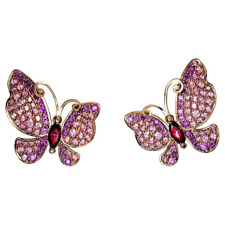 Alex Soldier Sapphire Topaz Gold Butterfly Earrings Cufflinks One of a Kind For Sale