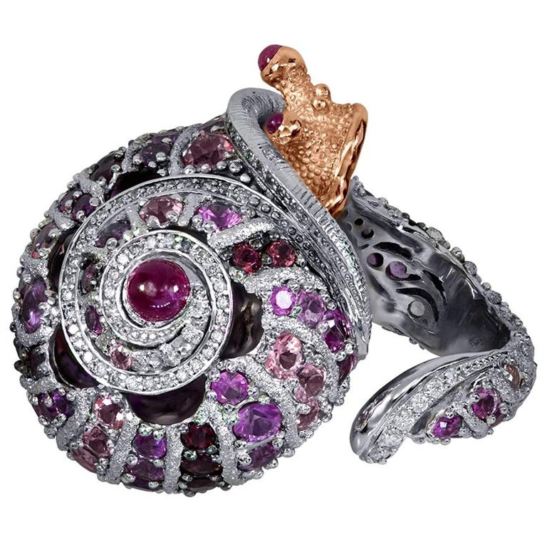 Round Cut Alex Soldier Sapphire Tourmaline Diamond Topaz Ruby Snail Ring One of a Kind For Sale