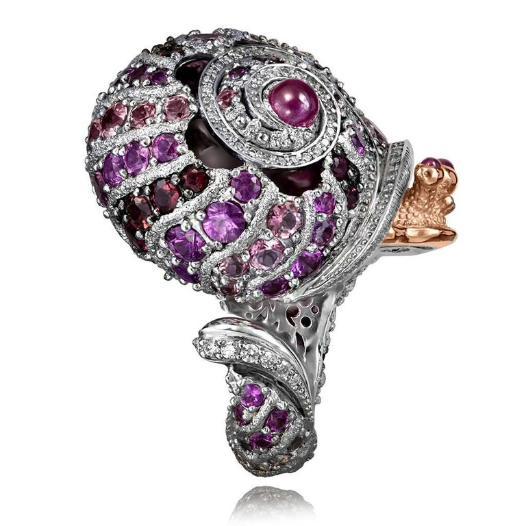 Women's or Men's Alex Soldier Sapphire Tourmaline Diamond Topaz Ruby Snail Ring One of a Kind For Sale