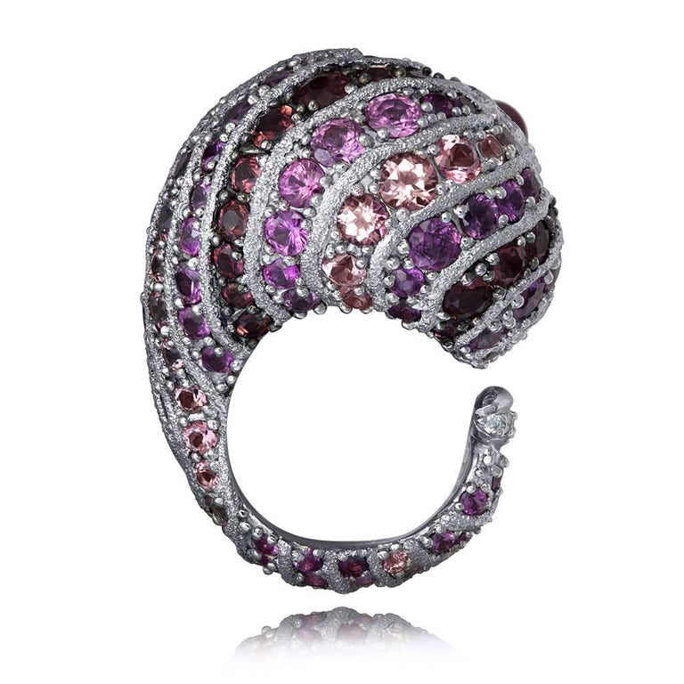 Alex Soldier Sapphire Tourmaline Diamond Topaz Ruby Snail Ring One of a Kind For Sale 1
