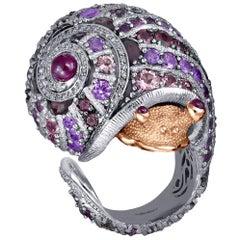Alex Soldier Sapphire Tourmaline Diamond Topaz Ruby Snail Ring One of a Kind