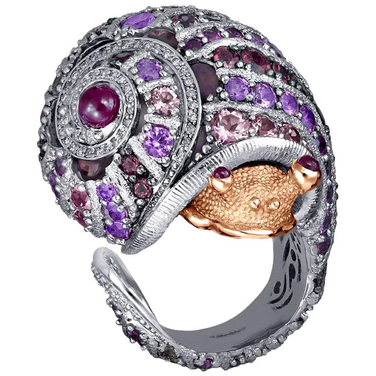 Alex Soldier Sapphire Tourmaline Diamond Topaz Ruby Snail Ring One of a Kind For Sale