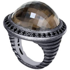 Smoky Quartz Oxidized Sterling Silver Cocktail Ring One of a Kind