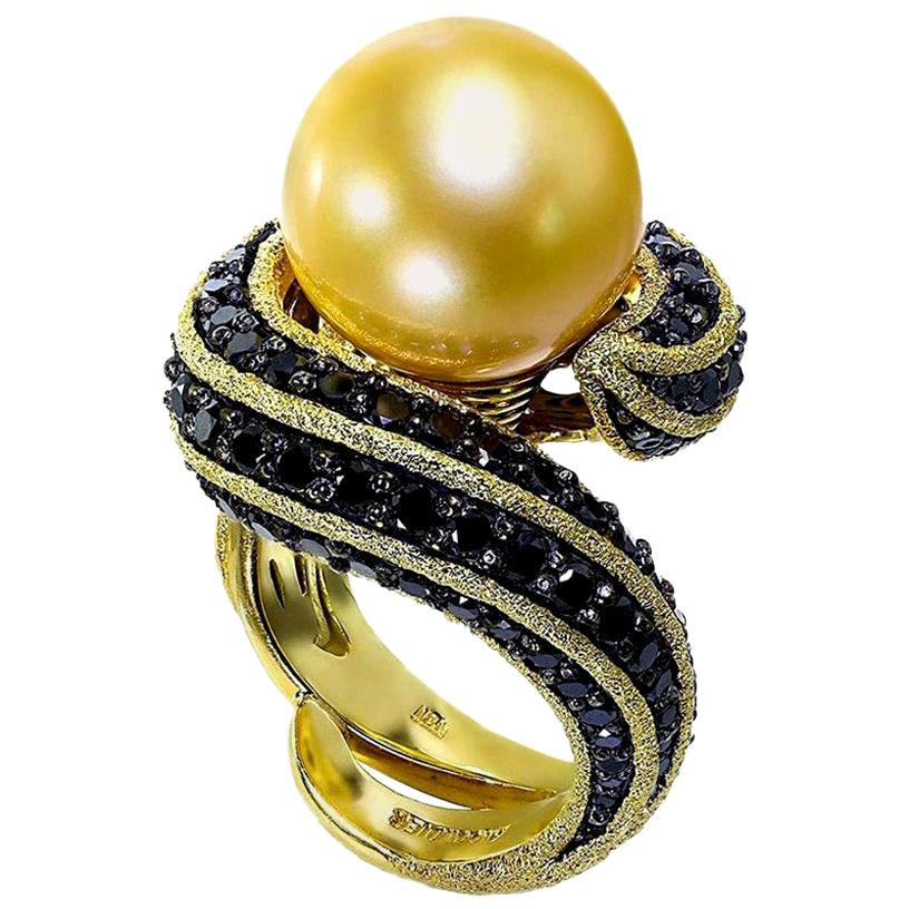 Alex Soldier South Sea Pearl Diamond Gold Cocktail Ring One of a Kind