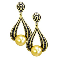 Alex Soldier South Sea Pearl Diamond Gold Drop Earrings One of a Kind