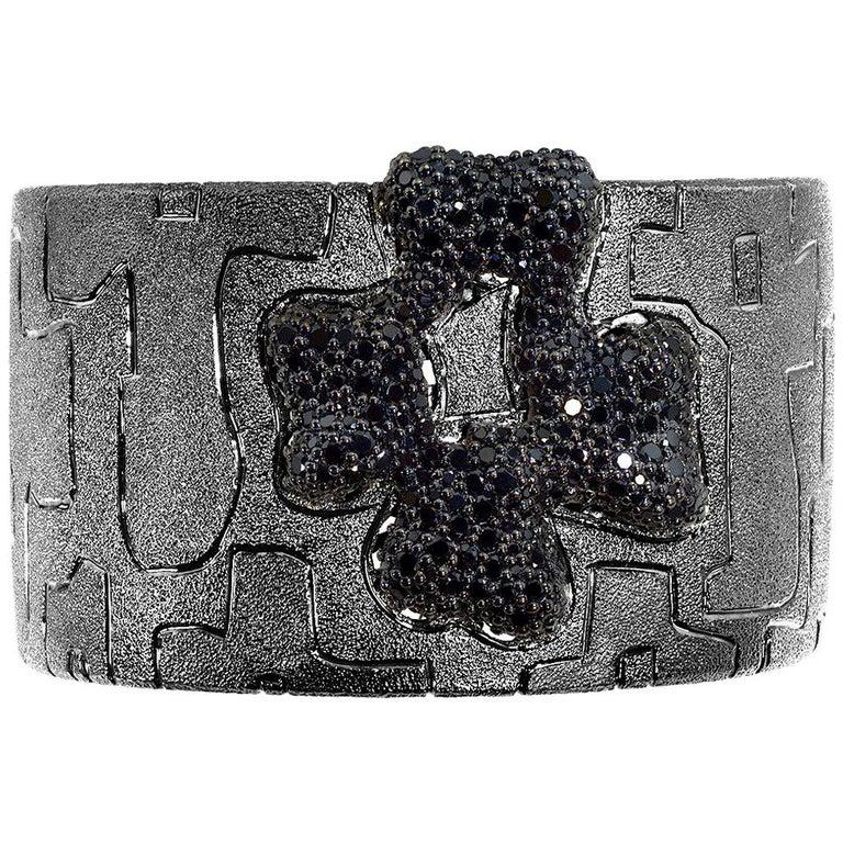 Alex Soldier Crossroad Cuff Bracelet: made in silver with black spinel (8.24 ct.) and dark platinum (black rhodium) infusion. Handmade in NYC, it features double hinges for extra comfort, finished with proprietary metalwork that creates an illusion