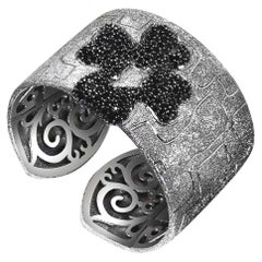 Alex Soldier Spinel Sterling Silver Hand-Textured Cuff Bracelet One of a Kind