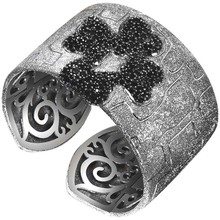 Alex Soldier Spinel Sterling Silver Rhodium Hinged Cuff Bracelet One of a Kind For Sale