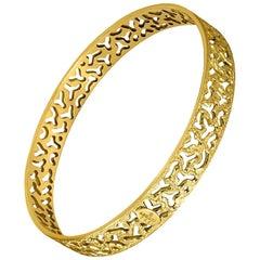 Alex Soldier Sterling Silver Gold Hand-Textured Bangle Bracelet