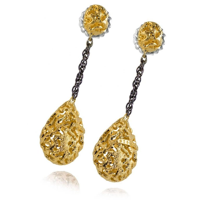 Alex Soldier Drop Dangle Meteorite Earrings: made in sterling silver, infused (deeply plated) with 24 karat yellow gold and dark platinum (rhodium), finished with signature metalwork that creates an effect of inner sparkle. Special open work
