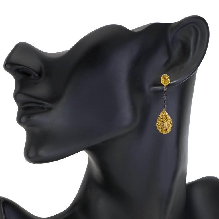 Alex Soldier Sterling Silver Gold Platinum Textured Drop Dangle Earrings In New Condition For Sale In New York, NY