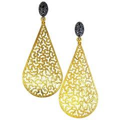 Alex Soldier Sterling Silver Gold Platinum Topaz Textured Festive Drop Earrings