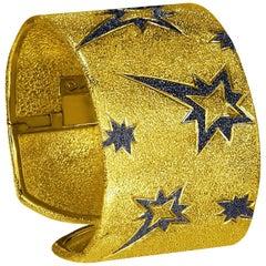 Alex Soldier Sterling Silver Gold Rhodium Textured Hinged Star Cuff Bracelet