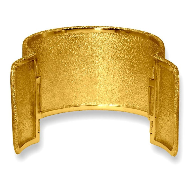 Women's or Men's Alex Soldier Sterling Silver Gold Textured Hinged Cuff Bracelet One of a Kind For Sale