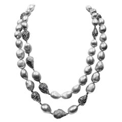 Alex Soldier Sterling Silver Platinum Pearl Necklace One of a Kind