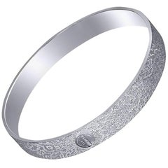Alex Soldier Sterling Silver Platinum Textured Bangle Bracelet